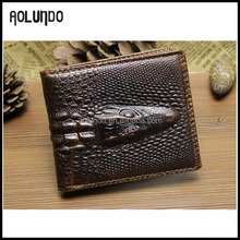 Customized Mens genuine leather slim travel wallet