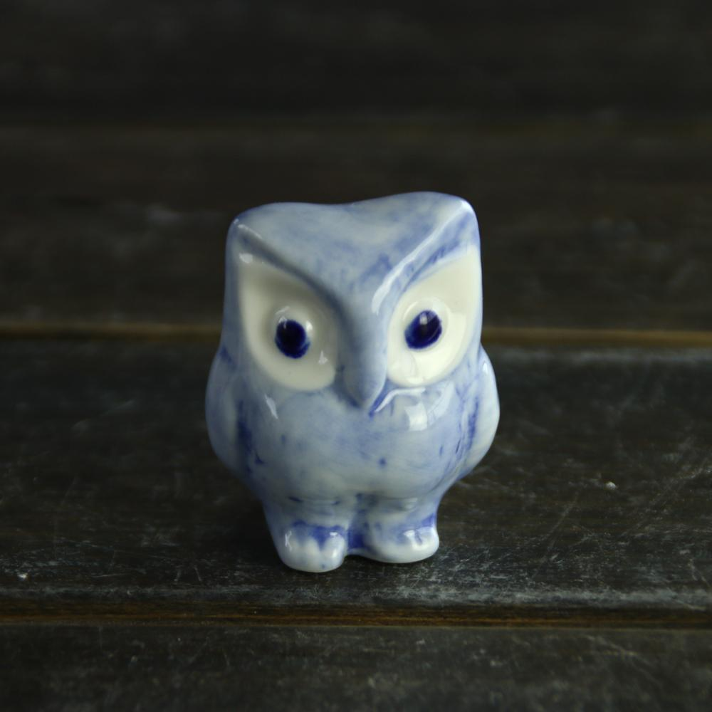 Delft ceramic blue and white stoneware owl home decoration