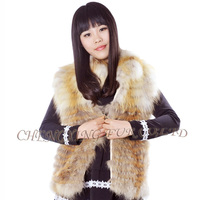 CX-G-B-214 New Design Hand Made Fox Fur Vest Womens Clothing