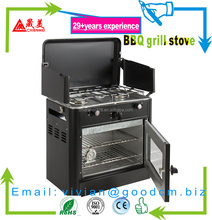 Camping Outdoor Oven 2 Burners Propane Portable Camping Patio Stove Grill BBQ