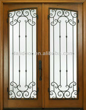 Wooden Wrought Iron Main Gate Designs DJ-S9052W-3