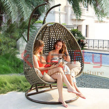 Two Person Double Seat Garden Furniture Outdoor Rattan Wicker Patio Hanging Swing Egg Chair with Stand