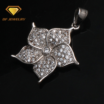 Clear image beautiful white gold over silver flower pendant necklace