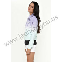 Wholesale branded women's purple white jeans coats 2013 autumn collection (LSWJF6239-1)