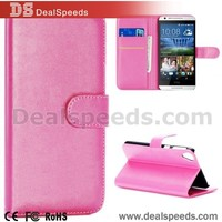 Fine Sheep Lines Wallet Style Magnetic Flip Stand PC+ PU Leather Case Flip Cover for HTC Desire 820 D820u (Pink)