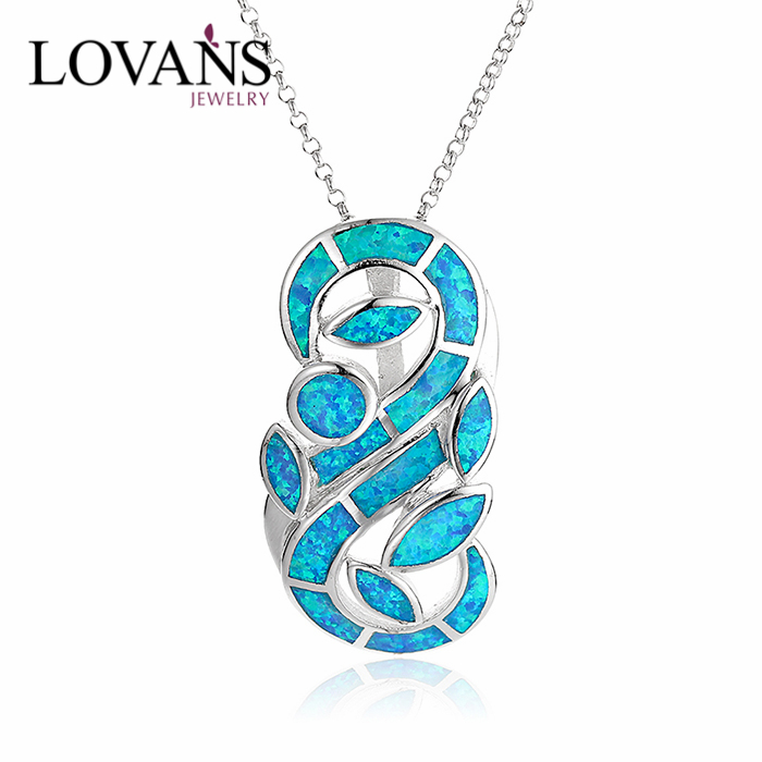 925 Sterling Silver Blue Opal Locket Diamond Custom Pendant Necklace SPI142W