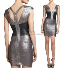 OEM Sexy bandage dresses Two-Tone Metallic Bandage bodycon Dresses for women, ebay evening dresses made in turkey (TW0457D)