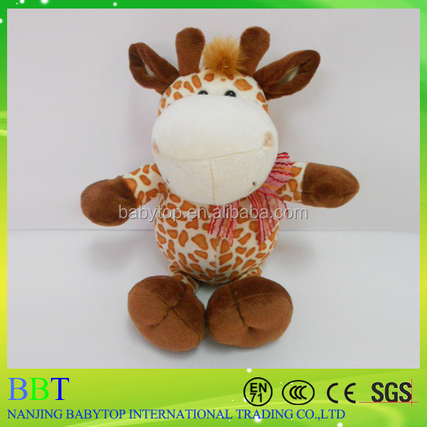 High quality exquisite hand making plush sitting lifelike giraffe soft toy