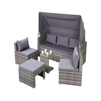 5pcs Sectional Rattan / Wicker Sofa Set Adjustable Outdoor Sunshade Sofabed Patio Multifunctional Furniture