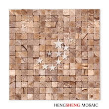 YK06 Natural Material Light Brown Color Coconut Shell Decorative Mosaic Tile