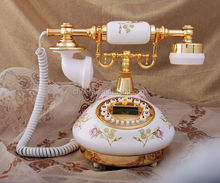 basic corded antique brass telephone