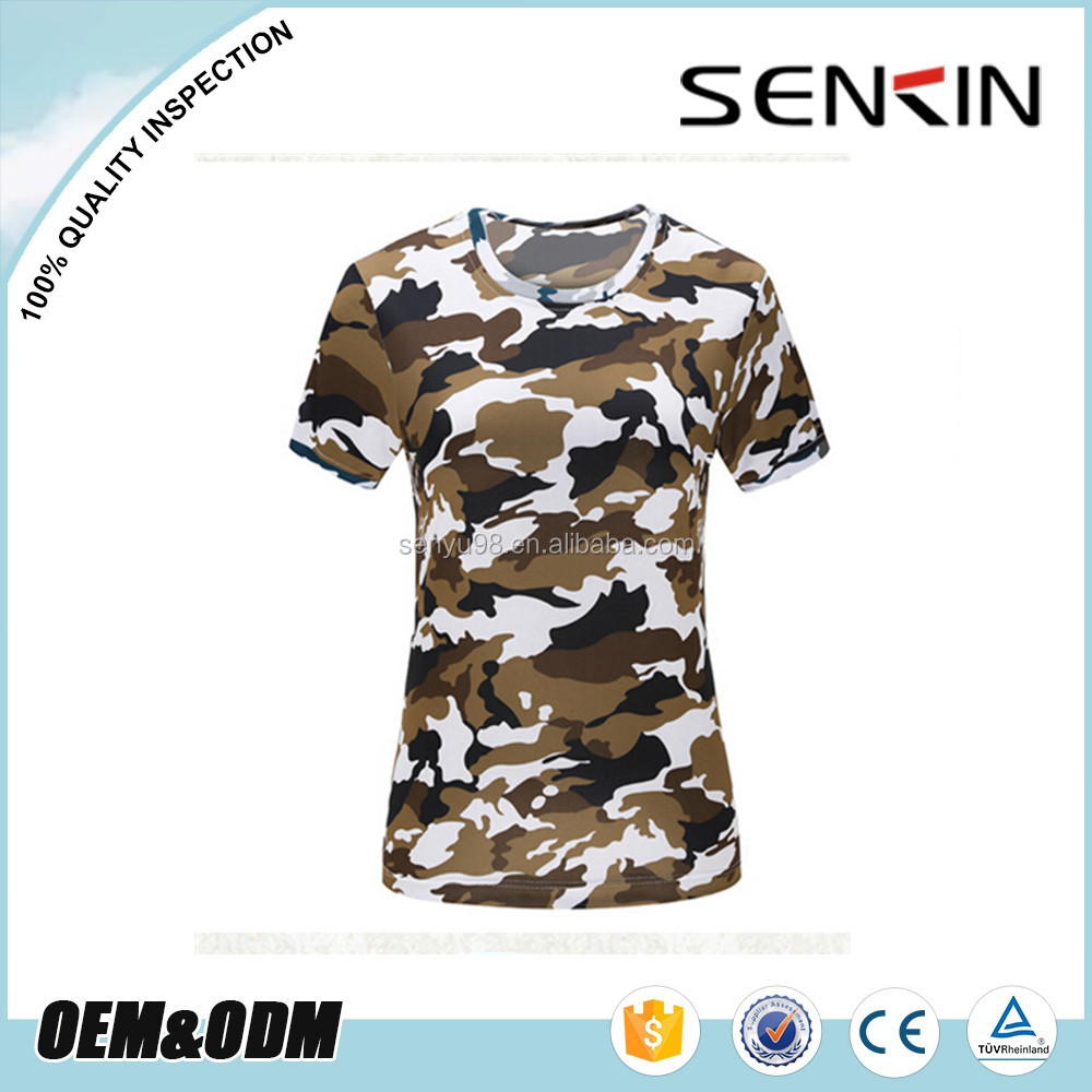 Womens sublimation camo t shirts full print dri fit for Camouflage t shirt printing