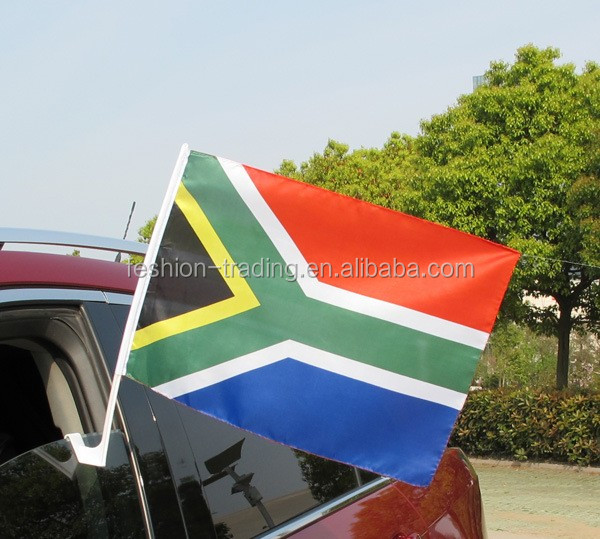 Haitian car window flag with plastic flagpole
