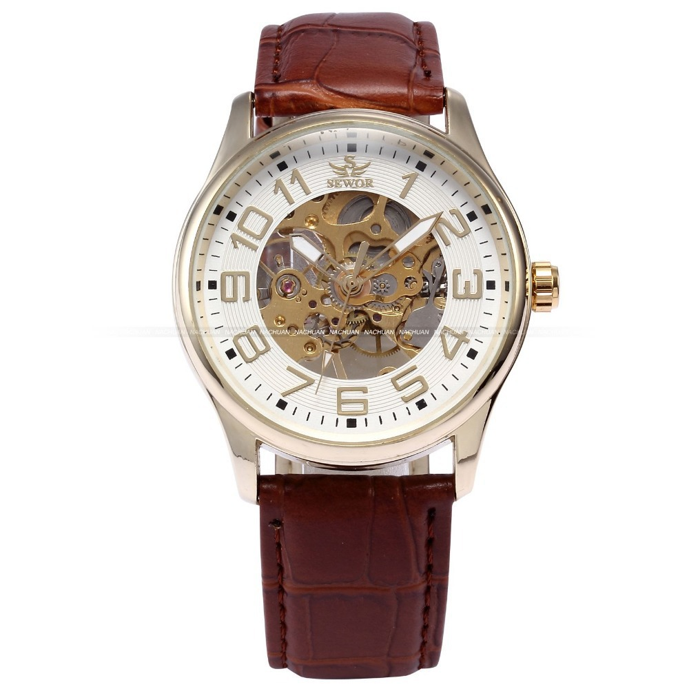 New Analog SEWOR Golden Case Hollow Skeleton Reloj Men Hand-winding Mechanical Black Leather Belt Wrist Hand Wind Watch