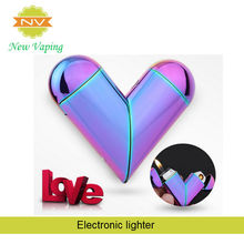 Heart-shaped metal usb electronic charged lighter cigarette lighter