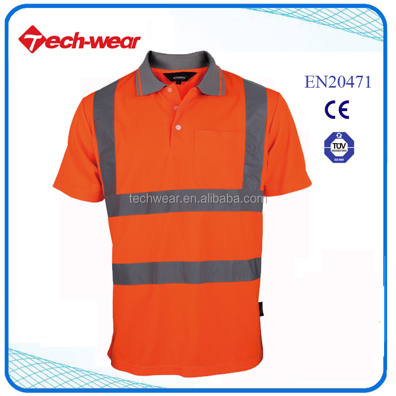 Hi Vis new model 100 polyester reflective t shirts wholesale with pocket