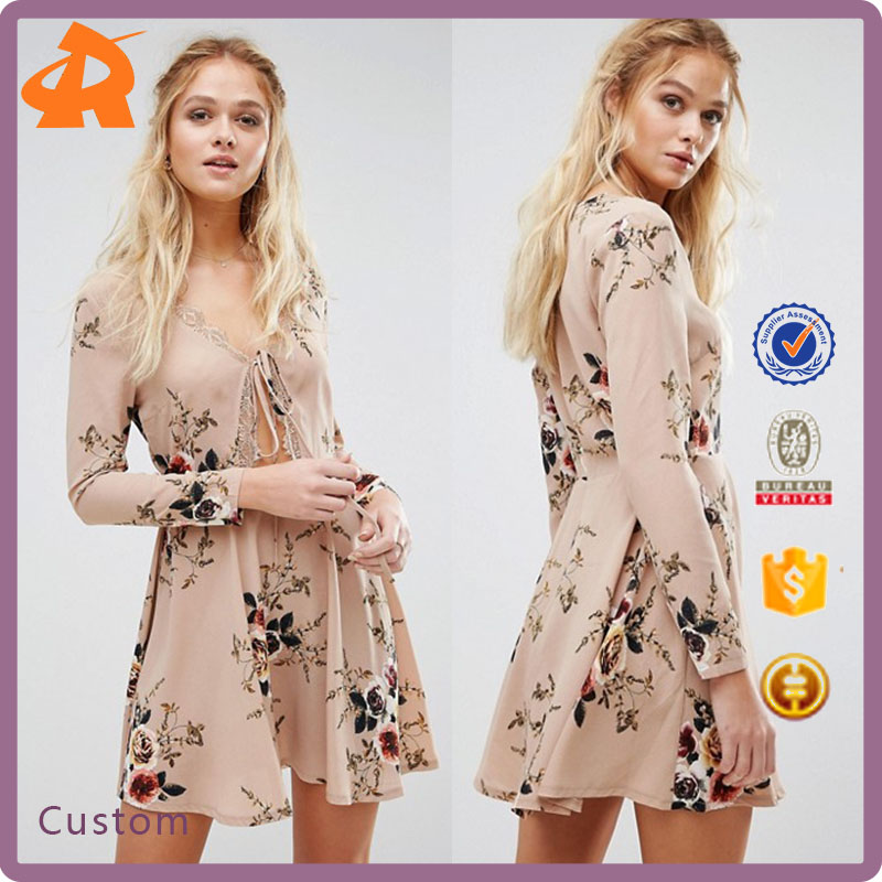 2017 OEM New Design Hot Style Dress Cheap Price V-neck Sexy Slim Girl's Floral Dress