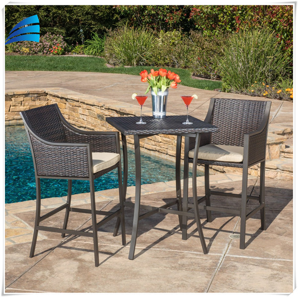 piece outdoor patio handweave wicker high dining bar set buy bar