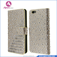Bling Bling diamond flip wallet case Magnetic Clasp Phone Cover with Card Slots For iphone 6/ 6S