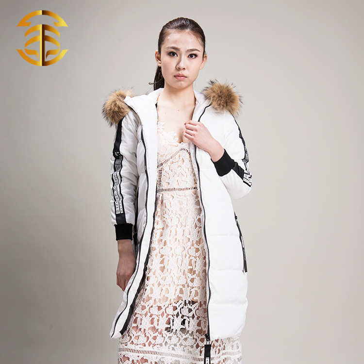 European Style Fashion Fox Collar Duck Feather Comfy Long Down Jacket