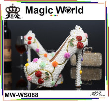 Big Size 43 Luxury Jeweled High Heel Ladies Bridal Wedding White Shoes