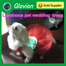 Red wedding dress for pet red and white wedding dresses RGB luminous pet wedding dress