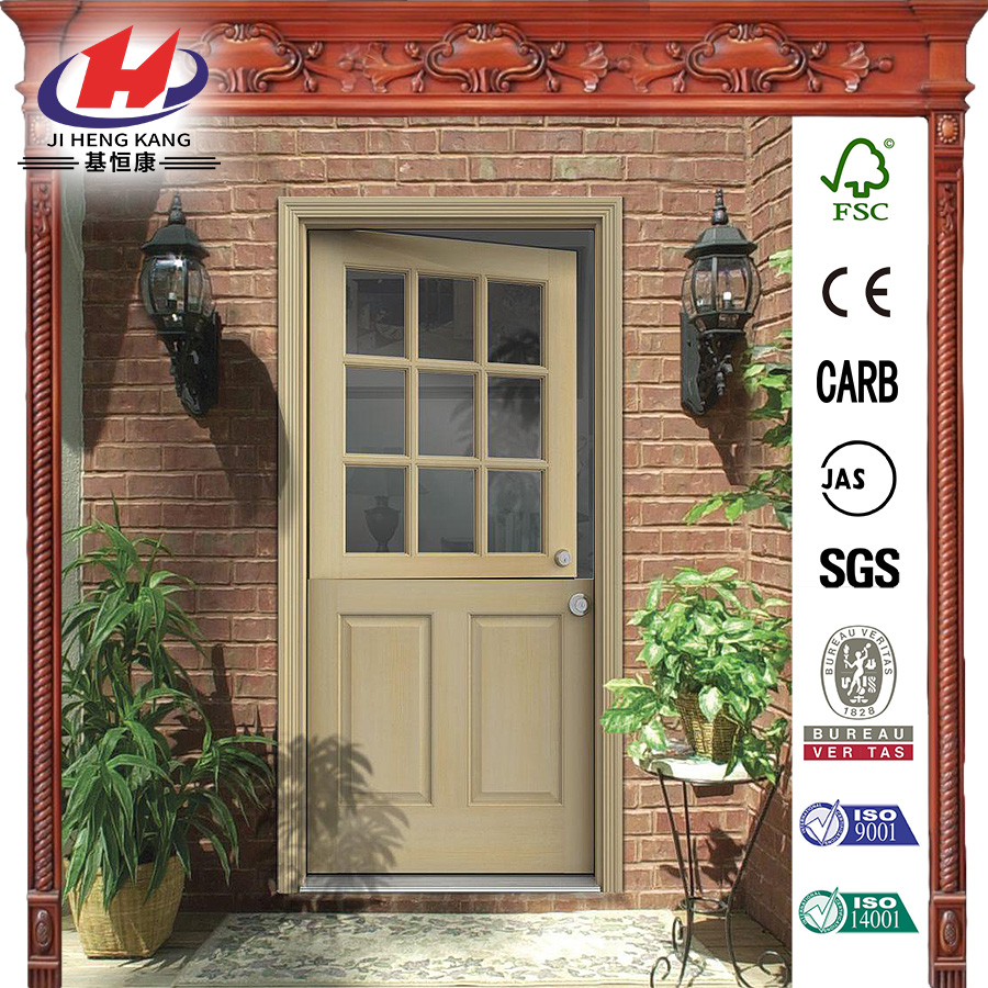 36 in. x 80 in. 6-Panel Unfinished Dutch Hemlock Wood Prehung Front Door with Brickmould
