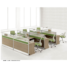 Wood panel T shaped office partition office workstation layout