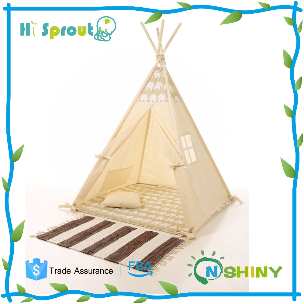 100% Cotton Canvas Wooden Pole Children Kids Play Indian Teepee Tent