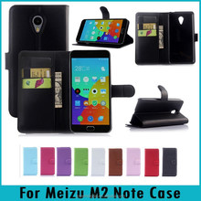 For meizu m2 note Litchi Solid Skin For Note 2 Wallet Stand Flip PU Leather Case For meizu m2 note With Card Slots Holder
