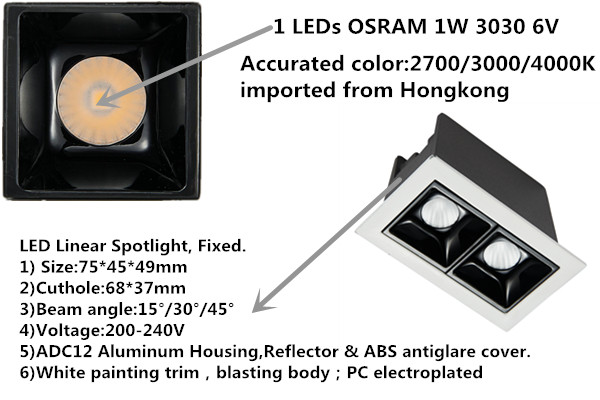China factory beam angle 15 degree 3w 8w 15w recessed linear projection lamp