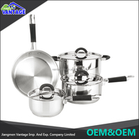 New arrival classical design 7pcs stainless steel well equipped kitchen cookware