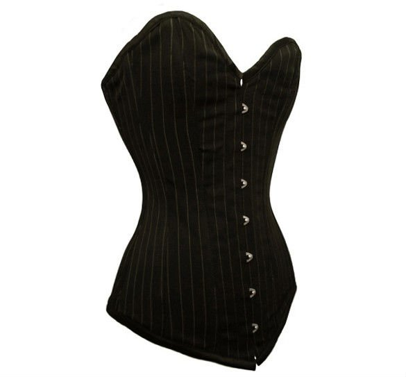 Simple classic long line black pinstripe corset (MY-015)