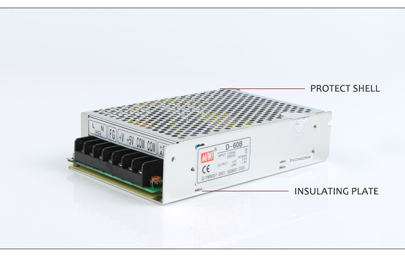 D-60 ac to dc power supply dual output 5v/12v