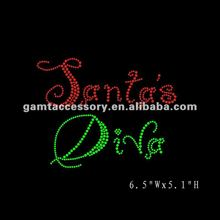 hot fix motif rhinestone heat transfer Christmas design Santa's diva for t-shirts