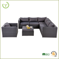 Hot sale cushions included synthetic rattan outdoor balcony sofa set poly rattan furniture