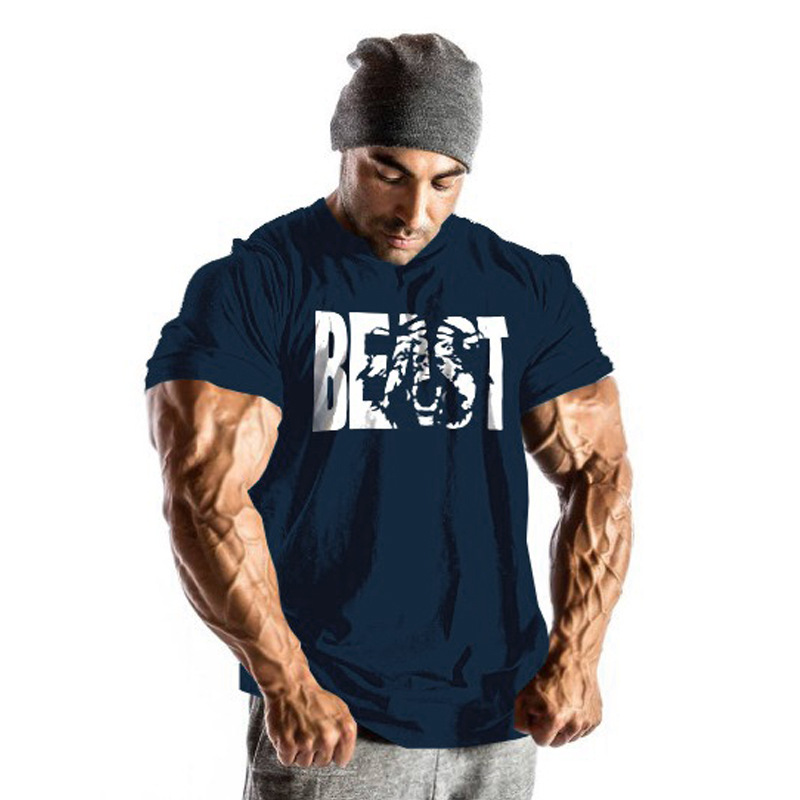 Extra large size spandex polyester dry fit gym fitness wear body fit t shirts clothing with great stretch for men