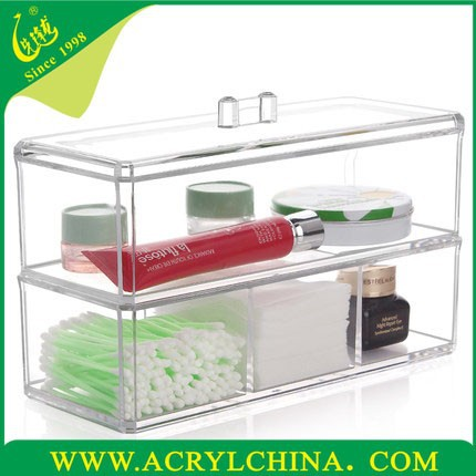 clear acrylic cosmetic organizer/PMMA makeup box/big storage box for jewelry