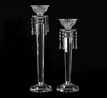 crystal cut long-stemmed glass candle holder