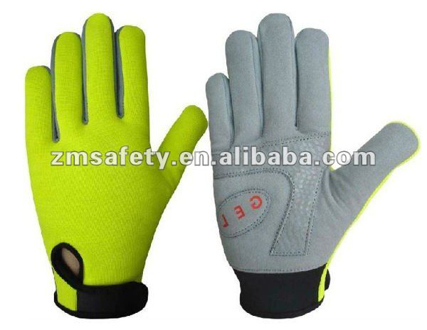 Sports Leather Gel Padded Yellow Full Finger Cycling Gloves