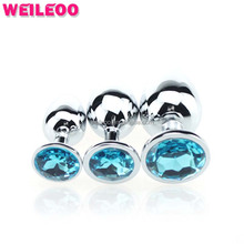 3 size Colorful round jewelry erotic metal butt plug gay adult sex toy for men anal plug