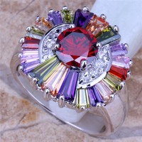 multi color stone ring large flower rings diamond jewelry manufacturer