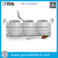 High white Porcelain Utensils Canister with Stainless steel Holder