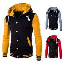 Wholesale Custom Autumn Slim Fit Blank Hooded Quilted Baseball Varsity Letterman Jacket Men