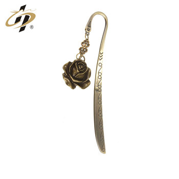 China 2016 new products christmas decoration antique brass rose metal custom bookmark with charm