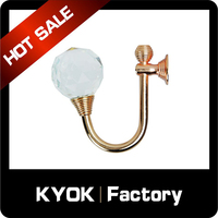 KYOK Metal curtain sprung drapery clip rod ring net rail voile pole hang hooks,China wrought iron window curtain wall hooks