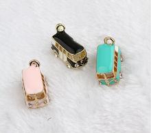 1 PC drops of oil Lucky Happiness Bus Enamel Pendant Charms Gold Tone crystal DIY Bracelet necklace Floating Charms