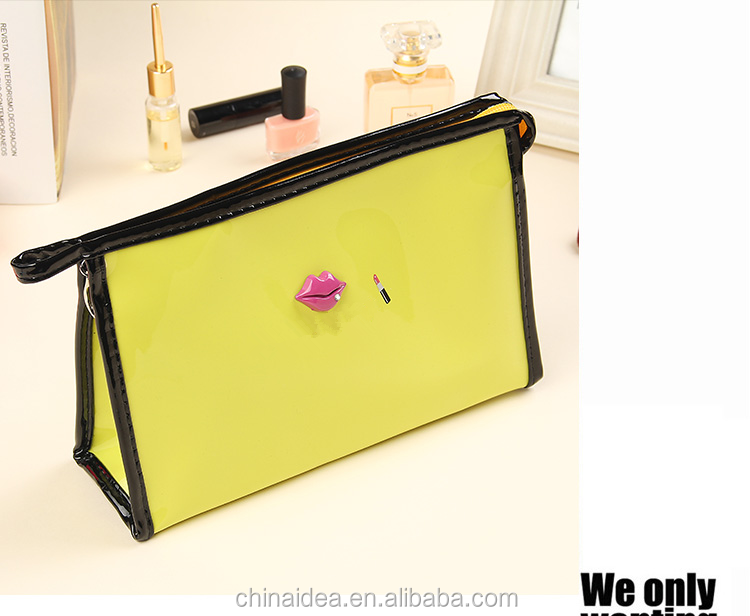 Travel bag yellow PU leather makeup cosmetic bag