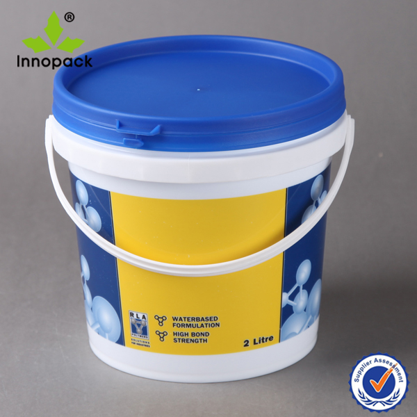 Customized printing plastic 1 gallon paint bucket with lid and handle