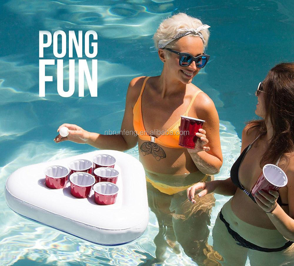 custom logo Inflatable Beer Pong Racks, Floating Pool Party Game Float Set